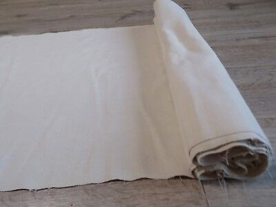 Antique homespun White Linen thin Fabric Canvas 0,53x7,6m 1930s Good condition