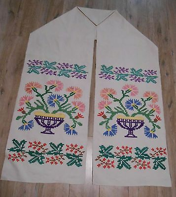Antique Embroidered Linen TOWEL Ukrainian RUSHNYK Polisia 1950s Great Condition