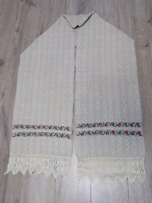 Antique handwoven Hemp TOWEL Ukrainian RUSHNYK 1920s 32x210cm Good condition