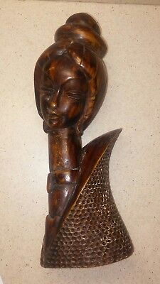 Vintage Hand Carved Wood Woman Bust Head Statue African SOLID WOOD CARVING