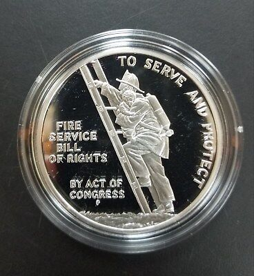 Ben Franklin Firefighters Silver Proof Medal. 1oz .999 Fine Silver. Box and COA