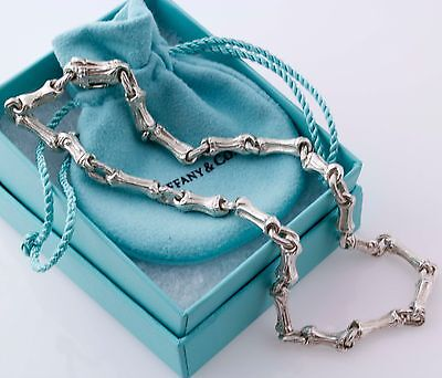 Gorgeous Tiffany & Co  Sterling Silver Bamboo Link Necklace