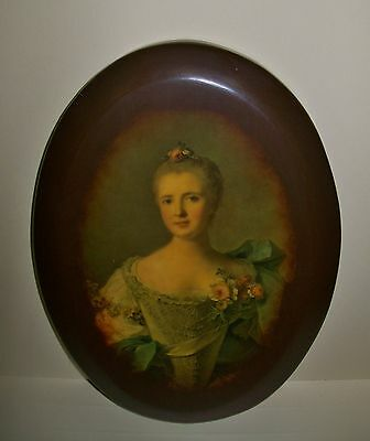 VINTAGE 'Mlle de Chateaurenaud' 1700s NATTIER PRINT applied to oval wall plaque