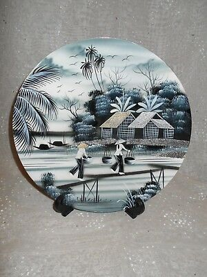 "Vietnamese scene on 10"" black wooden plate w/raised crushed eggshell roofs&roads"