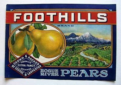 1920s Foothills Pear Fruit Crate Label Rogue River w/ Snowy Mountain