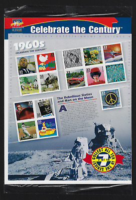 "USA Stamps — Pane of 15 — 1999, Celebrate the Century ""1960s"" #3188 — MNH"