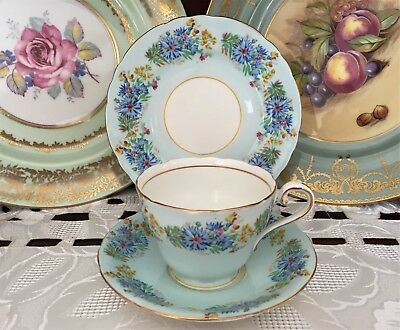 Vintage Aynsley Bone China England Blue Floral Pattern Trio C1939+