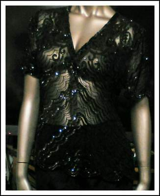 VTG 80s SHEER BLACK BEADED SEQUINED BLOUSE SCALLOPED 100%SILK PARTY HOLIDAY SZ L