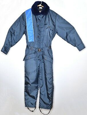 Vintage Walls BLIZZARD-PRUF Blue Insulated Snowsuit Coveralls Size M Chest 38-40