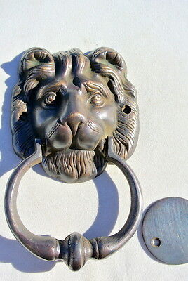 LION head old heavy front Door Knocker SOLID BRASS vintage antique style house