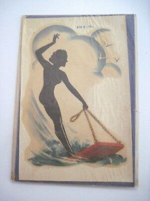 "Vintage Collectible ""MeyerCord Decal "" w/Black Silhouette Woman On Buggie Board"