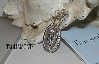 TAGLIAMONTE(800)Pendant*Rhod.Plated925+14K~Lovers~Cupid&Psyche~Medallion Cameo