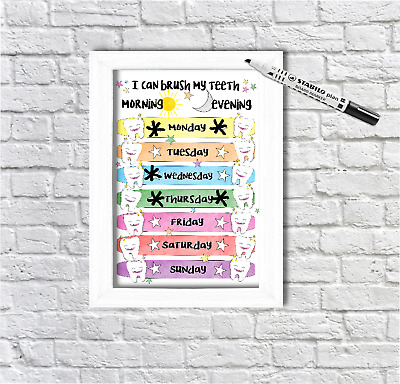 Tooth brush, reward Chart, morning and evening, teeth, star chart, sticker chart