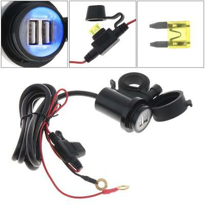 Waterproof Dual USB 12V DC 5V 2A Motorcycle Handlebar Double USB Charger Socket