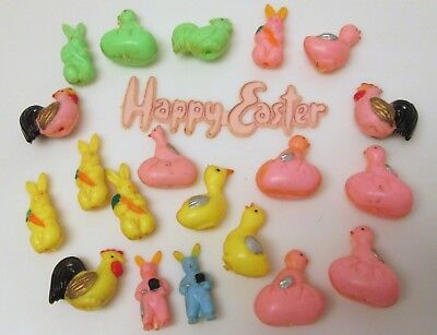 Vtg Plastic Spring Easter Decorations Chicks Bunnys Ducks Cup Cake Picks (21)