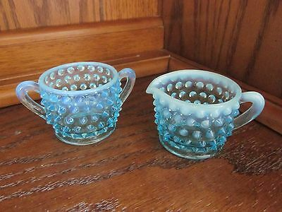 Fenton Blue Opalescent Hobnail Mini Cream and Sugar Set - Vintage