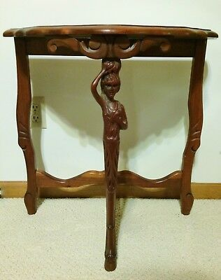 Antique French Style Carved Walnut Figural Woman Lamp End Side Console Table Vtg