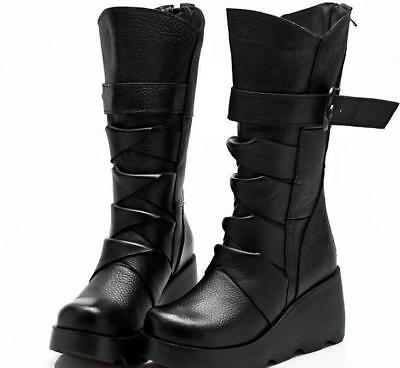 Chic stylish women's round toe buckle mid calf boots platform wedge heels shoe