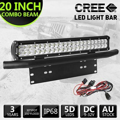 "20 inch 294W CREE LED Light Bar Combo / 23"" Black Number Plate Frame / Free Wire"