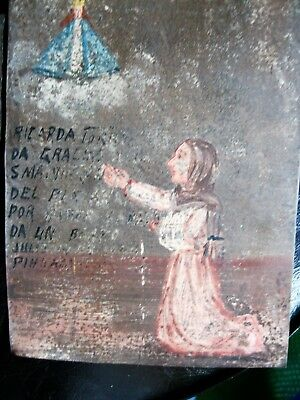 Original 1940's Exvoto On Tin  Woman Thanking Our Lady Del Platanar For Healing