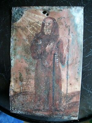 Original Antique Retablo On Tin With San Francisco De Paola 4 1/4'' By 6 1/2''