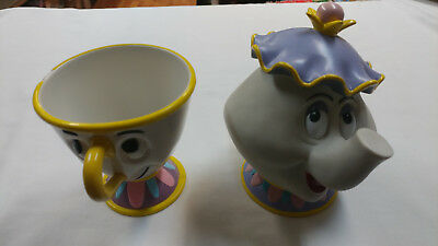 Vintage Disney Barnum Bailey Beauty Beast Set Mrs. Potts Bank and Chip Cup