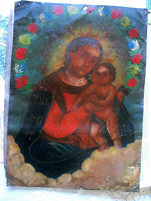 antique original retablo on tin image of our lady of refuge in original conditio