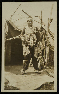 c1910 RPPC CHIPPEWA? INDIAN outdoors TRADITIONAL DRESS w/PEACE PIPE? Wisconsin?