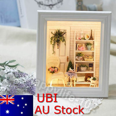 Wood Handmade Doll House Miniature LED Dollhouse Furniture Frame Toy Gift DIY HP