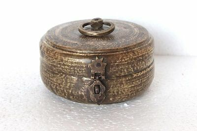 1900's Old Brass Carved Round Inlay Engraved Handcrafted Bread/Jewellery Box Y80