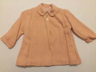 Vintage Baby Girls Pink Coat Handmade and Fully Lined 1950s **FREE SHIPPING**