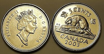 Lot of 2 Types 2003P New and Old Effigy Canada 5 Cent Nickel Coins
