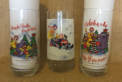 McDonald's Christmas Glasses Three 3 Ronald McDonald Hamburgler 2004