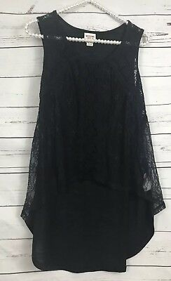 Mossimo Supply Co XXL High Low Lace Blouse Sheer Black