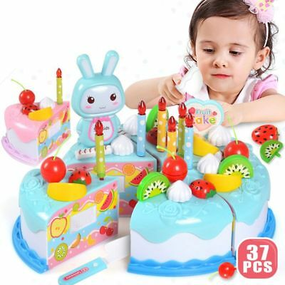 Birthday Cake Toy Fruit Cutting Kitchen Food Toys Pretend Play Girls Gift 37PCS