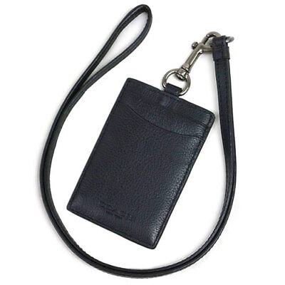 New COACH Men ID Cards Badge Holder Lanyard in BLACK Sport Calf Leather F58114