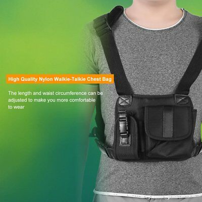 Two Way Radio Walkie Talkie Chest Pocket Harness Nylon Bag Pack Backpack Holster