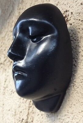 Small Plaster Black Mask Wall-Hanging For Decorations Or Crafts