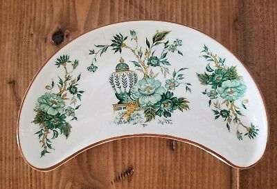 Crown China Staffordshire England KOWLOON Crescent Half Moon Tray Floral Urn