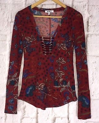 972e9cad5c5d Womens William Rast Burgundy Floral Corset Thermal Long Sleeve Top Shirt  Size M