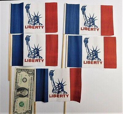 """5 Oilcloth Patriotic Statue Of """"liberty"""" Theme Flags"""