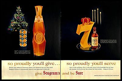 1956 Seagrams 7 Crown Whiskey Vintage PRINT AD Christmas Centennial Decanter 50s