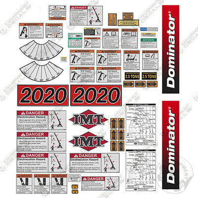IMT Truck Crane 2020 Dominator Series Full Safety Decal Kit with Logos