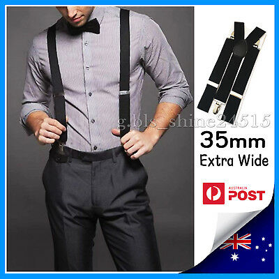 35mm Wide Mens Womens Black Suspenders Braces Adjustable Formal Wedding Party