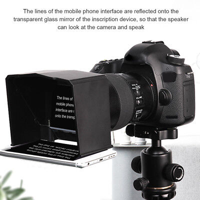 Smart Phone Teleprompter with Lens Adapter Rings Kit with Remote for Interview G