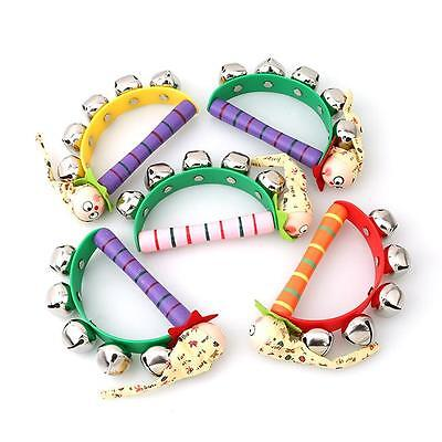 Baby Wooden Clown Hand Bell Tambourine Rattles Kids Infants Educational Toy Gift