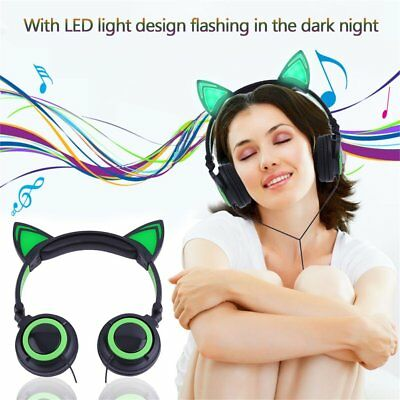 Cat's Ears Headphones Folding Laptop Computer Earphone With LED Light Headset AO