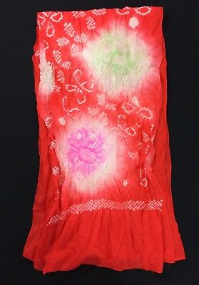 Japanese red obiage for kimono obi, made in Japan, used, good cond. (C2380)