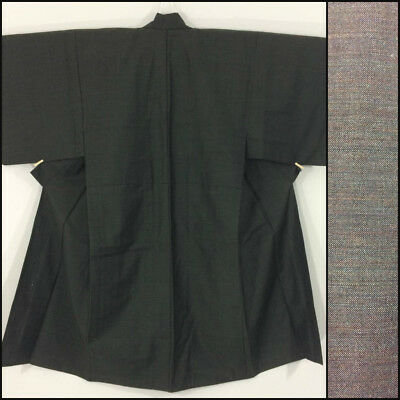 Japanese men's kimono, brown wool, medium, made in & imported from Japan(AC2310)