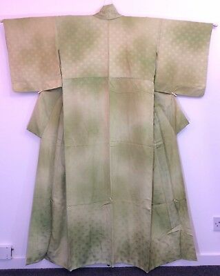 Authentic Japanese green silk kimono for women, large and long, good c. (AC1745)